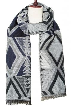 Womens Winter Rhombus Patterned Warm Scarf Gray