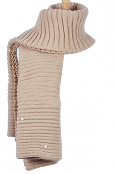 Womens Knitted Pearl Decor Plain Winter Scarf Khaki