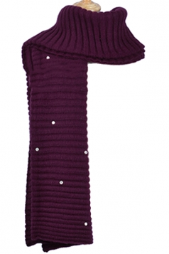 Womens Knitted Pearl Decor Plain Winter Scarf Purple