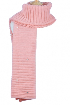Womens Knitted Pearl Decor Plain Winter Scarf Pink