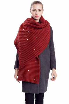 Womens Knitted Pearl Decor Plain Winter Scarf Red