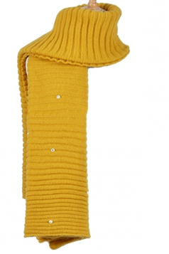 Womens Knitted Pearl Decor Plain Winter Scarf Yellow
