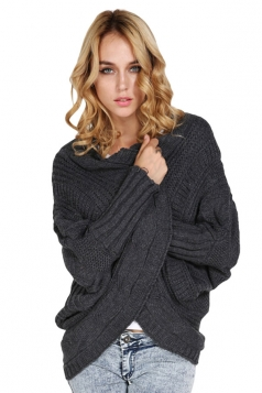 Womens Knitted Batwing Sleeve Cocoon Plain Cardigan Sweater Dark Gray