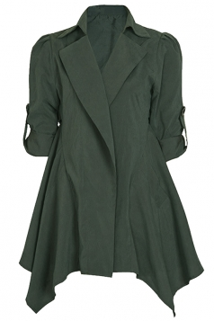 Womens Lapel Collar Tunic Irregular Hem Plain Trench Coat Green