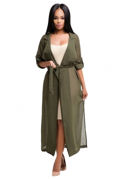 Womens Notched Lapel Sheer Chiffon Long Trench Coat Army Green