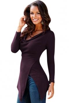 Womens Cowl Neck Side Slit Long Sleeve Plain T Shirt Purple