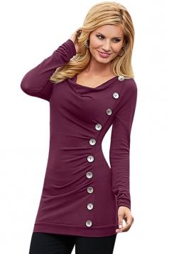 Womens Cowl Neck Buttons Decor Long Sleeve T Shirt Purple