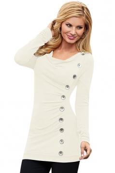 Womens Cowl Neck Buttons Decor Long Sleeve T Shirt White