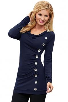 Womens Cowl Neck Buttons Decor Long Sleeve T Shirt Navy Blue