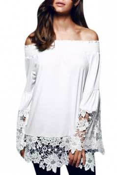Womens Off Shoulder Lace Patchwork Long Sleeve Plain Blouse White