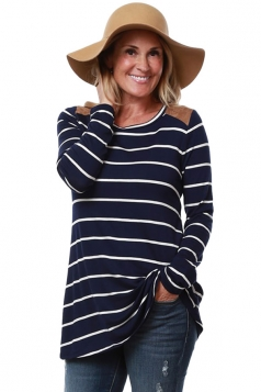 Womens Patchwork Crewneck Striped Long Sleeve T Shirt Navy Blue