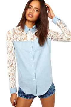 Womens Turndown Collar Lace Patchwork Long Sleeve Blouse Light Blue