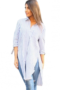 Womens Turndown Collar High-low Striped Slit Blouse Blue