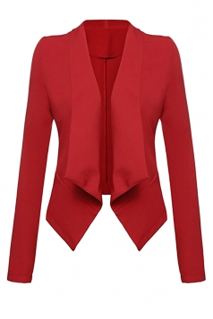 Womens Lapel Collar Long Sleeve Plain Blazer Red