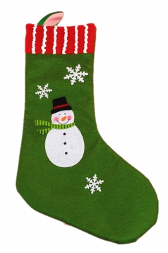 Womens Snowman Applique Stripped Christmas Decoration Stocking Green