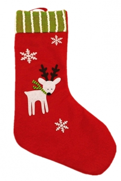 Womens Reindeer Applique Stripped Christmas Decoration Stocking Red