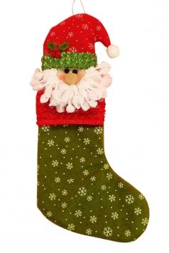 Womens Cute Snowflake Santa Claus Christmas Decoration Stocking Green