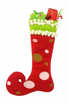 Womens Funny Polka Dot Christmas Decoration Stocking Red