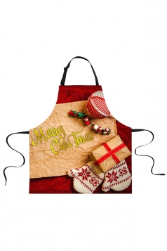 Womens Merry Christmas Gifts Printed Apron Apricot