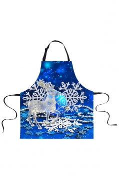 Womens Christmas Reindeer and Snowflake Printed Apron Blue