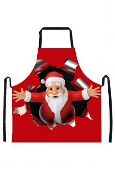 Womens Hugging Santa Claus Printed Christmas Apron Black