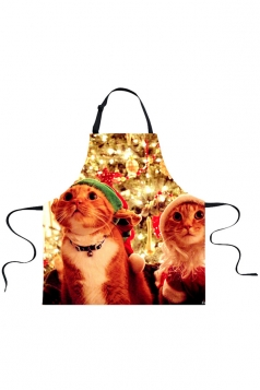 Womens Cute Christmas Cats Printed Apron Brown