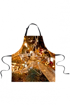 Womens Christmas Tree Star Printed Apron Camel