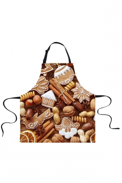 Womens Christmas Cookies Printed Apron Coffee
