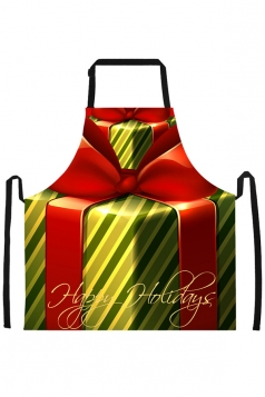 Womens Christmas Gift Printed Apron Green