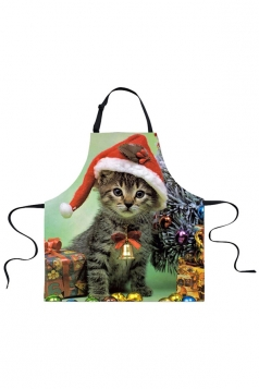 Womens Funny Christmas Cat Printed Apron Gray