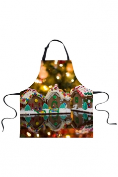 Womens Christmas Accessory Printed Apron Khaki
