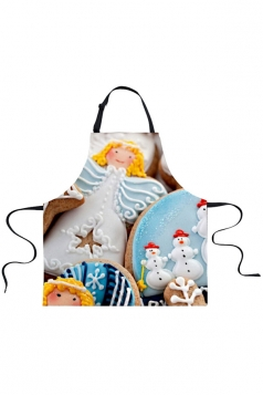 Womens Snowman and  Elf Printed Christmas Apron Light Blue