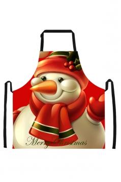 Womens Merry Christmas Snowman Printed Apron Tangerine