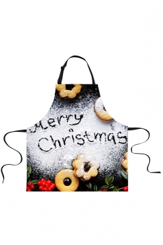 Womens Merry Christmas Cookie Printed Apron White