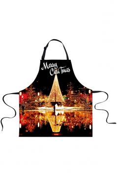 Womens Merry Christmas Night Scene Printed Apron Black