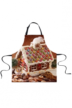 Womens Sweet Cookie Printed Christmas Apron Brown