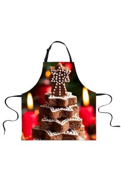 Womens Star Cookies Printed Christmas Apron Coffee