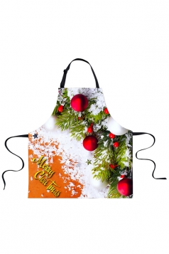 Womens Merry Christmas Tree Printed Apron Orange