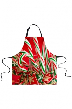 Womens Sweet Candy Cane Printed Christmas Apron Green