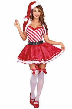 Womens Striped  Ruffled Dress Christmas Candy Cane Costume Red