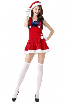 Womens Super Mario Sleeveless Christmas Santa Costume Red