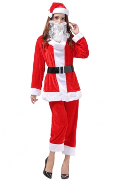 Womens Long Sleeve Top&Cropped Pants Christmas Santa Costume Red