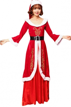 Womens Long Sleeve Maxi Dress Christmas Ms. Santa Costume Red