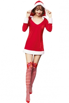 Womens Hooded Long Sleeve Christmas Santa Costume Red