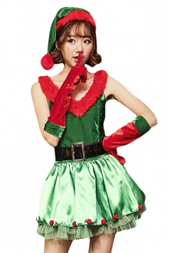 Womens V Neck Sleeveless Christmas Tree Costumer Green