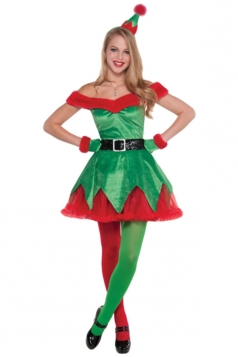 Womens Color Block Off Shoulder Christmas Tree Costume Green