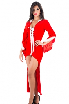 Womens Lace-up Cut Out Back High-low Christmas Santa Costume Red