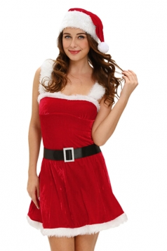 Womens Fur Straps Waistbelt Sleeveless Christmas Santa Costume Red