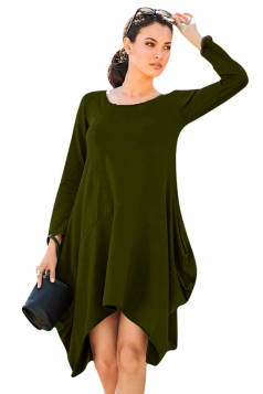 Womens Asymmetric Long Sleeve Pocket Plain Dress Army Green