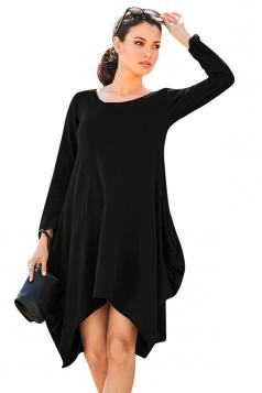 Womens Asymmetric Long Sleeve Pocket Plain Dress Black